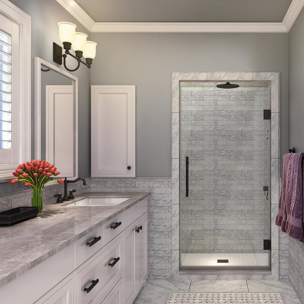 Aston Kinkade 27.75 - 28.25 in. x 72 in. Completely Frameless Hinged Shower Door in Oil Rubbed Bronze