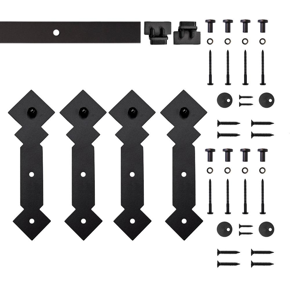 5 ft. Black Double Diamond Rolling Double Furniture Door Kit with