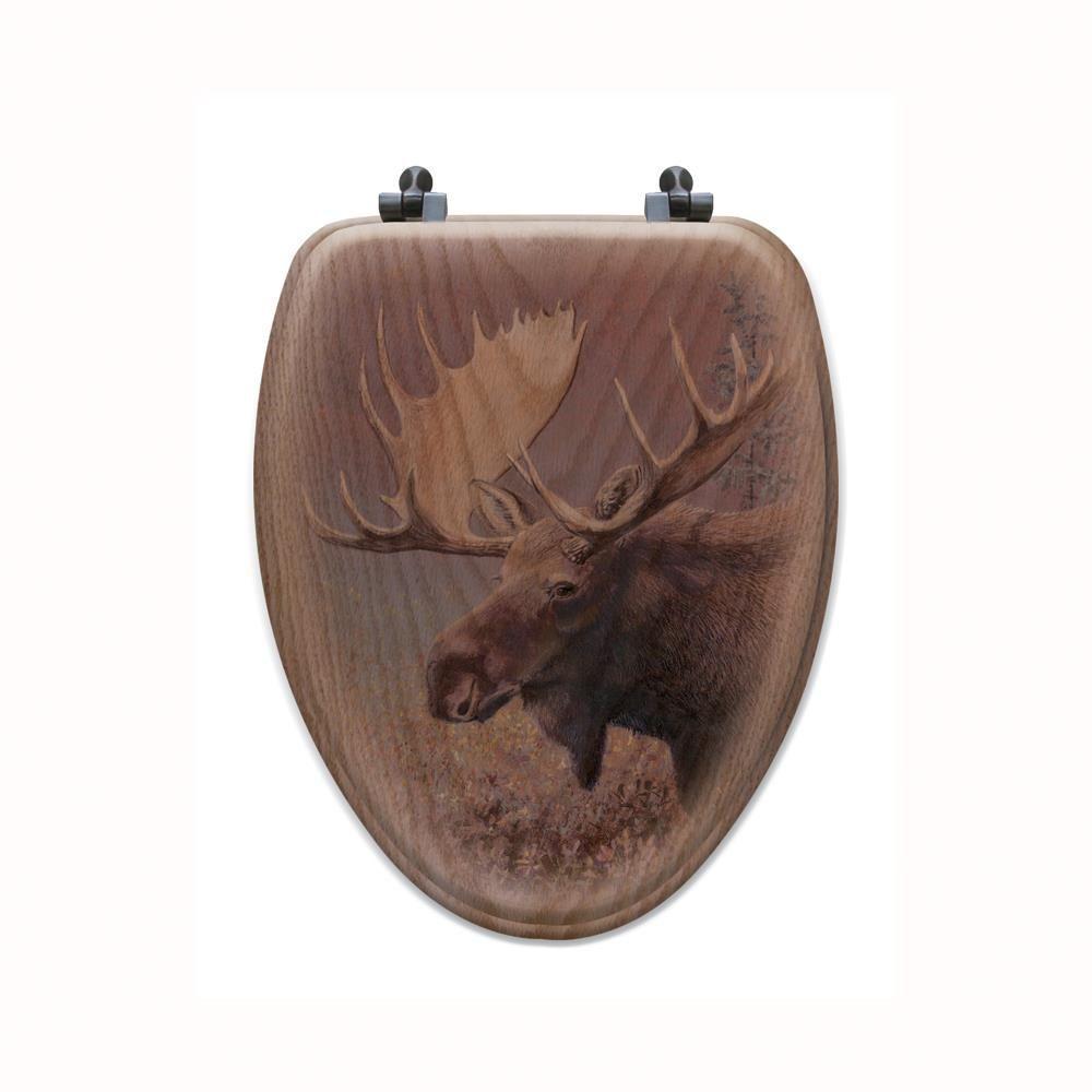 Chocolate Moose Elongated Closed Front Wood Toilet Seat in Oak Brown