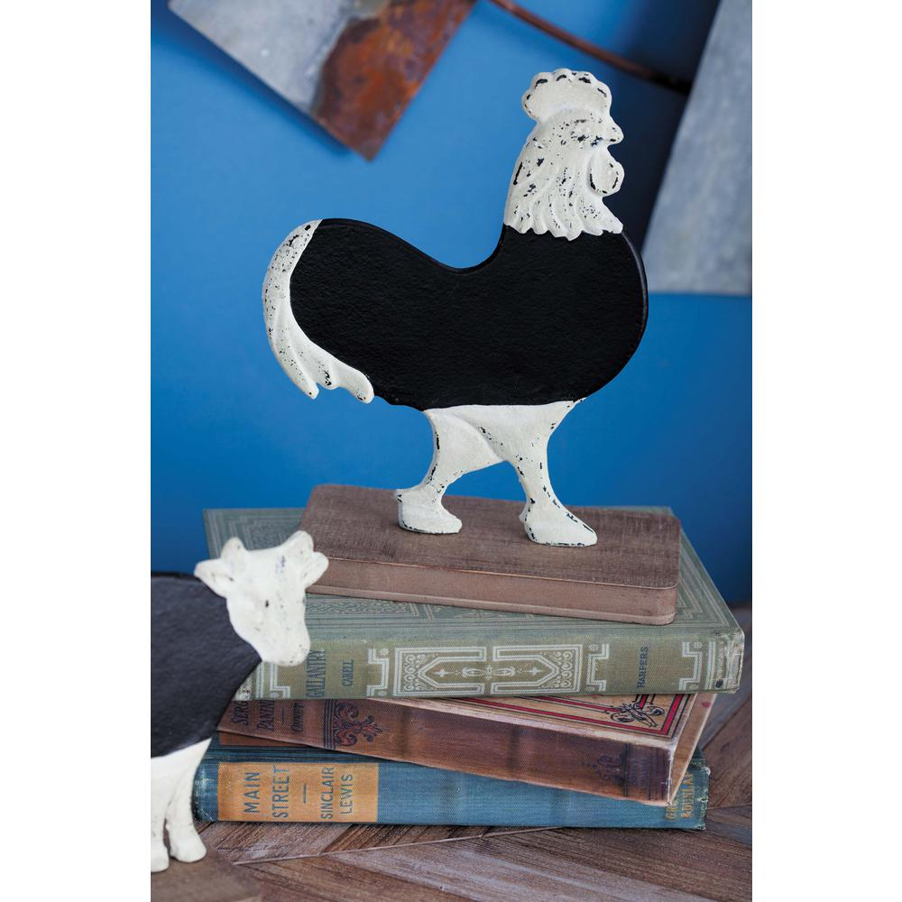 8 in. Rooster Chalkboard Decorative Figurine in Distressed White, Natural Brown