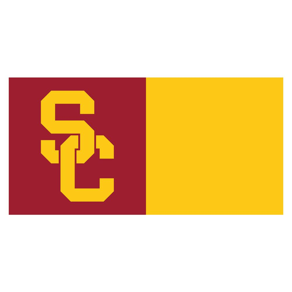 FANMATS NCAA - University of Southern California Maroon and Gold Nylon 18 in. x 18 in. Carpet Tile (20 Tiles/Case)