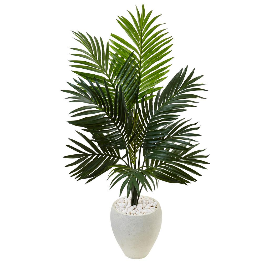 nearly natural indoor kentia palm artificial tree in white oval planter 5988 the home depot. Black Bedroom Furniture Sets. Home Design Ideas