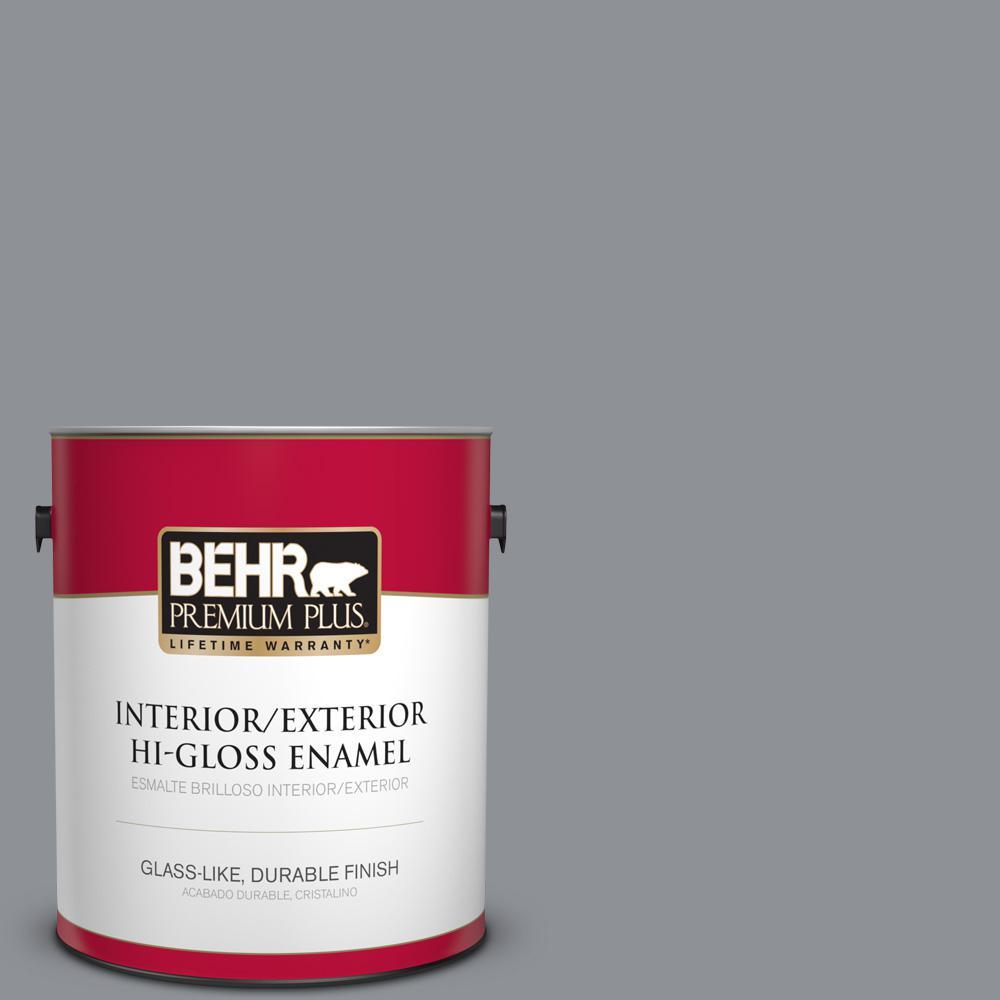 1 gal. #PPU18-04 Dark Pewter Hi-Gloss Enamel Interior/Exterior Paint