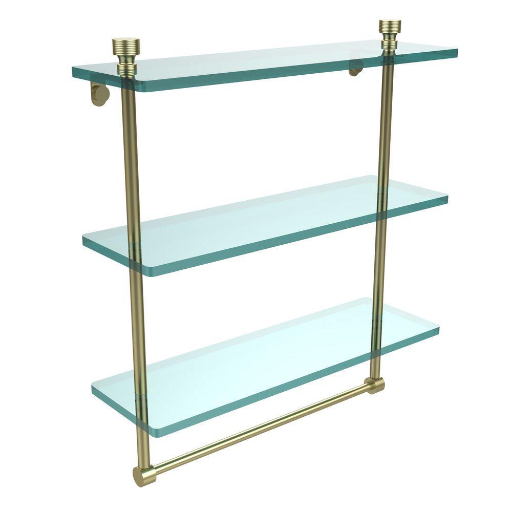 Foxtrot 16 in. L  x 18 in. H  x 5 in. W 3-Tier Clear Glass Bathroom Shelf with Towel Bar in Satin Brass