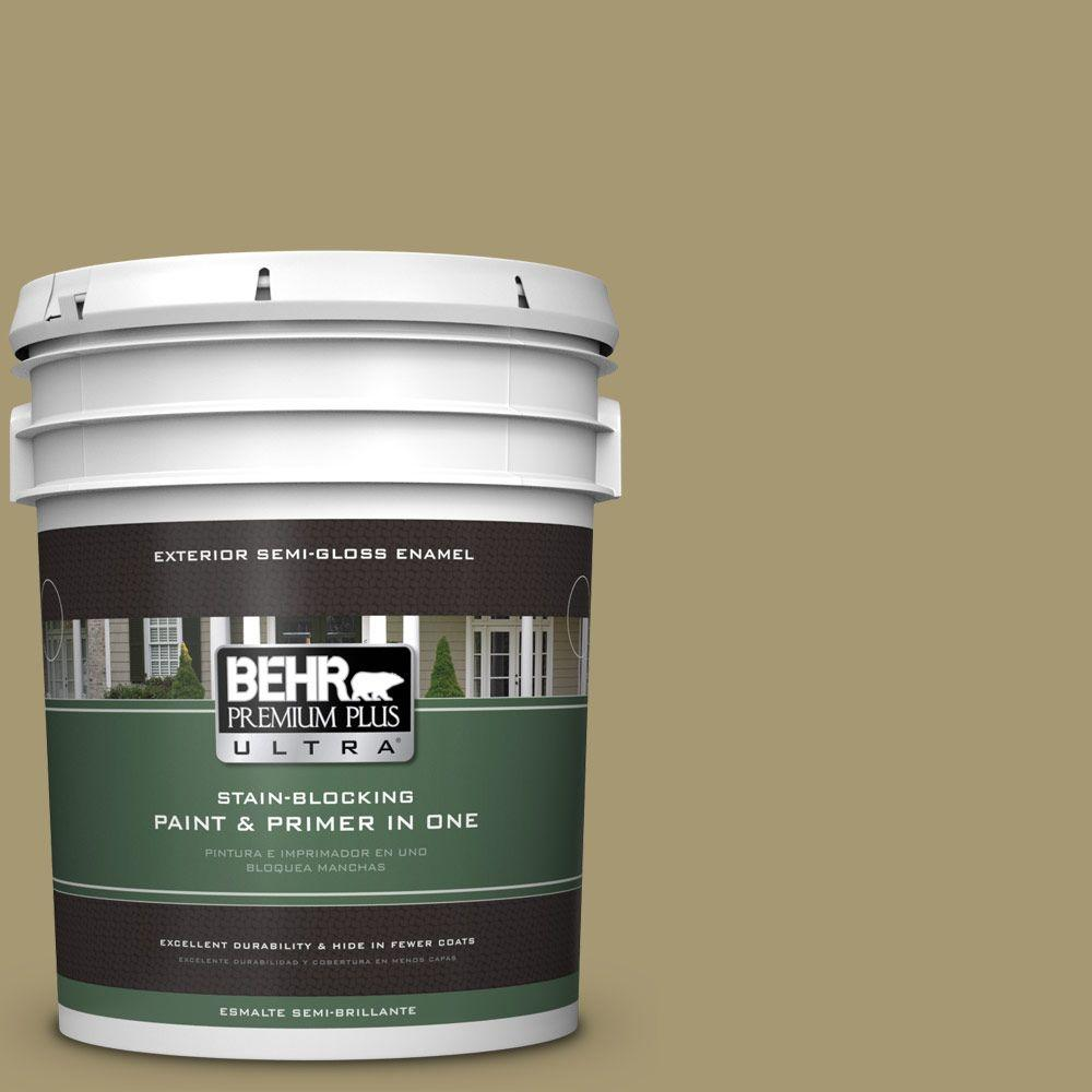 BEHR Premium Plus Ultra 5-gal. #S330-5 Dried Chive Semi-Gloss Enamel Exterior Paint, Greens