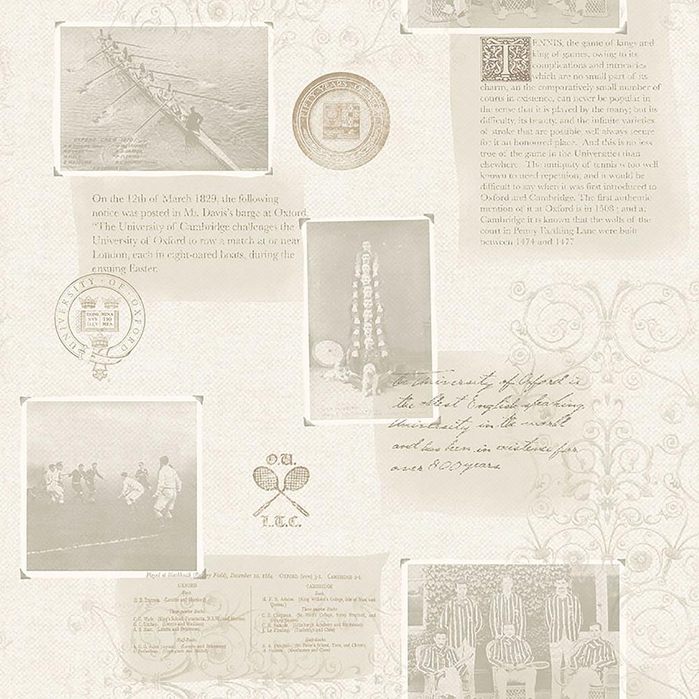 Archive Grey Novelty Wallpaper Sample