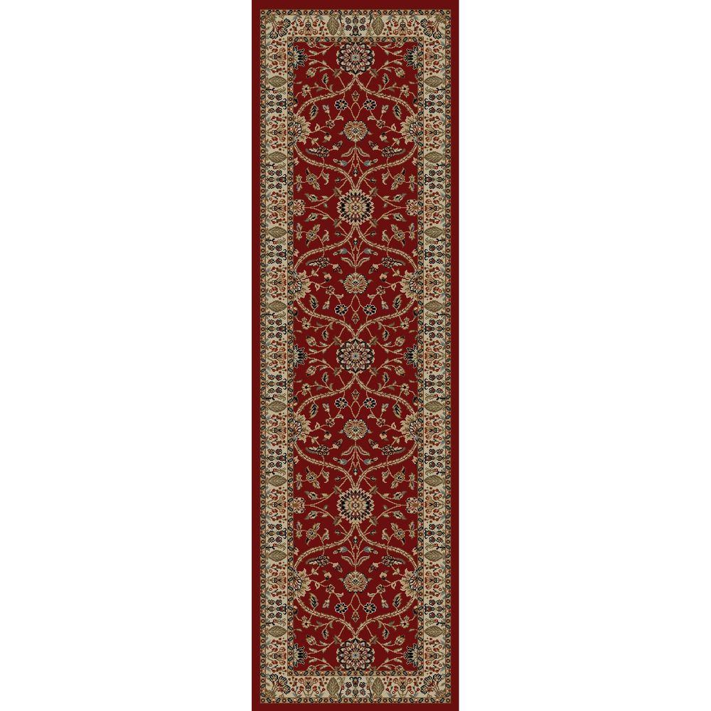 Concord Global Trading Jewel Voysey Red 2 ft. 3 in. x 7 ft. 7 in. Rug Runner