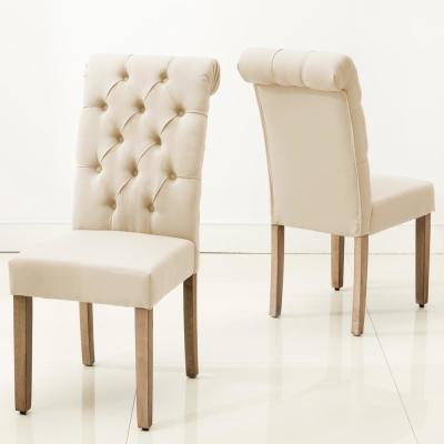 Natalie Roll Top Tufted Grey Linen Fabric Modern Dining Chair (Set of 2)