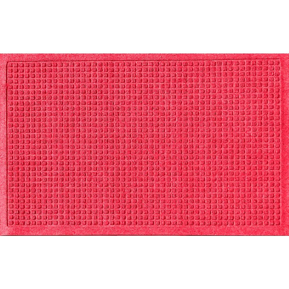 Solid Red 24 in. x 36 in. Squares Polypropylene Door Mat