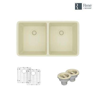 Undermount Composite Granite 32-1/2 in. Double Bowl Kitchen Sink in Ecru