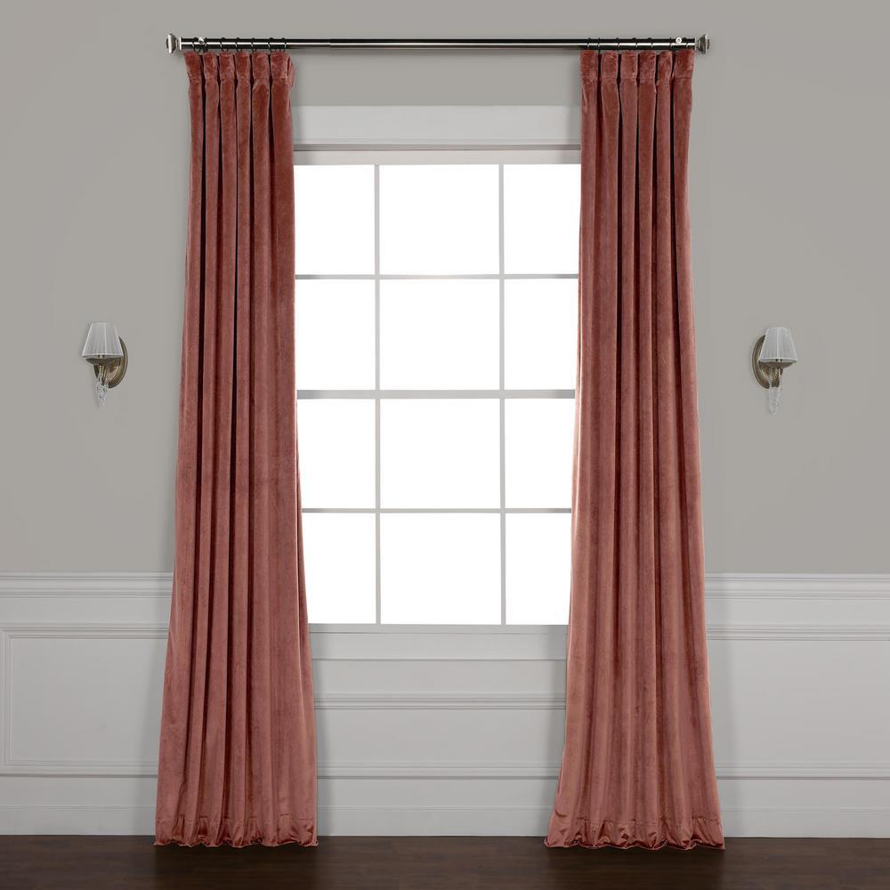 Wild Rose Pink Plush Velvet Curtain - 50 in. W x 96 in. L