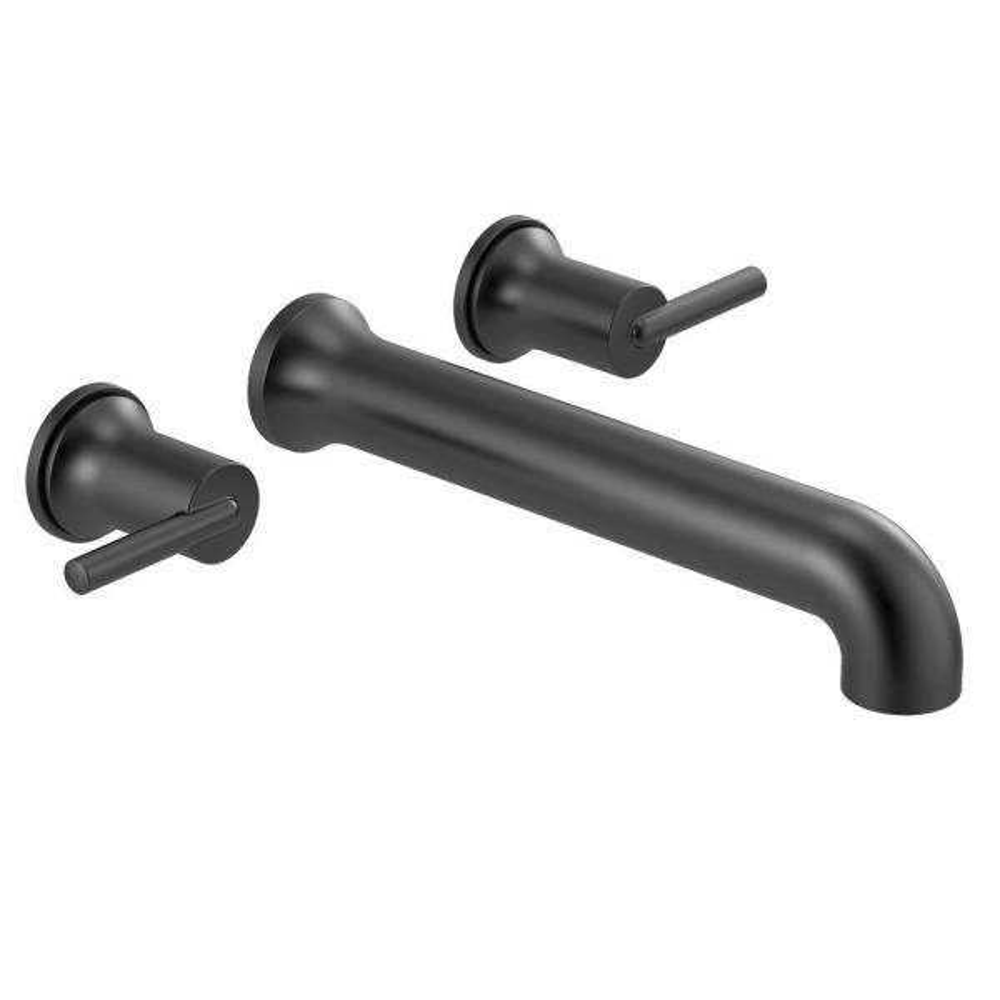Trinsic 2-Handle Wall-Mount Tub Filler Trim Kit in Matte Black (Valve Not Included)