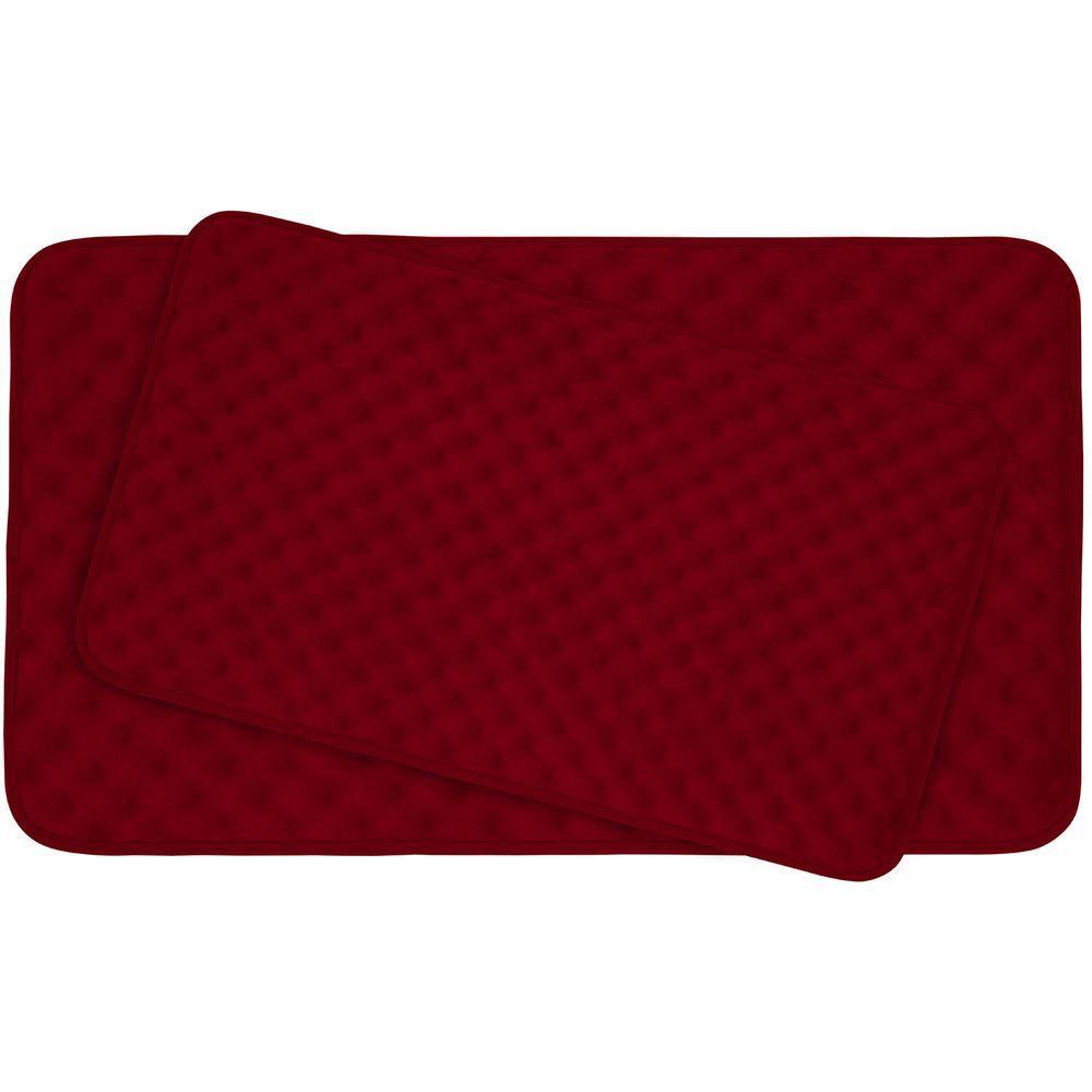 Bouncecomfort Massage Burgundy 20 In X 32 In Memory Foam
