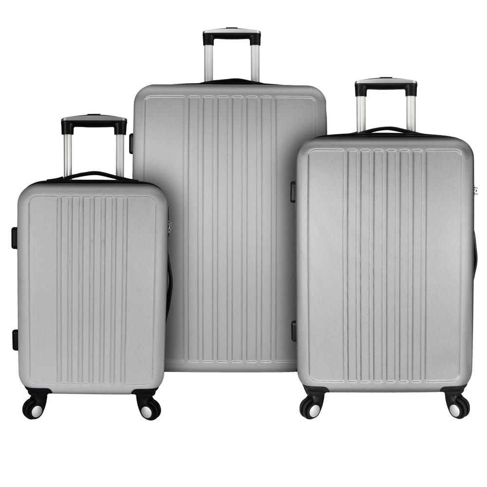Versatile 3-Piece Hardside Spinner Luggage Set, Silver