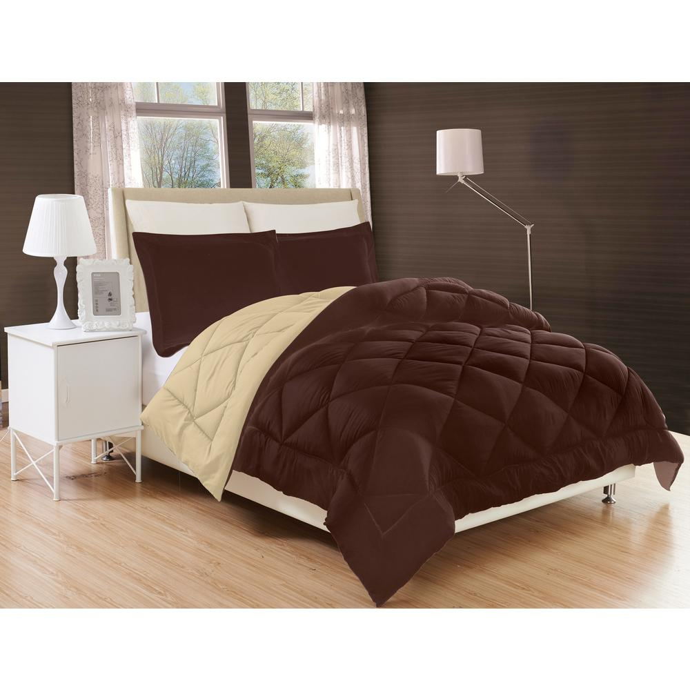 elegant comfort down alternative chocolate brown and cream reversible king comforter set cmf k. Black Bedroom Furniture Sets. Home Design Ideas