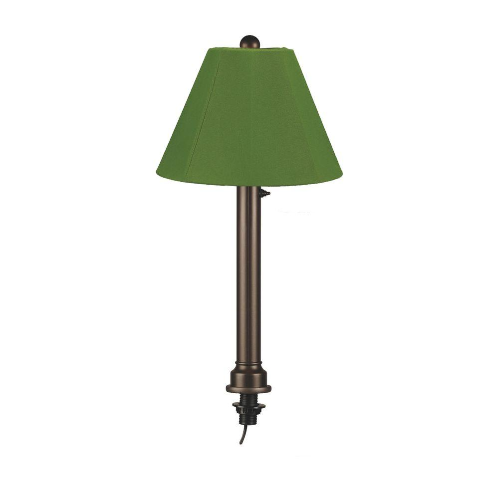 Catalina 28 in. Bronze Umbrella Outdoor Table Lamp with Natural Linen