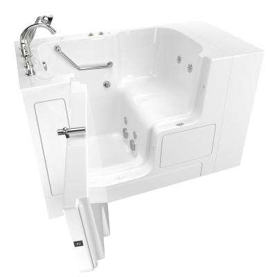 Gelcoat Value Series 52in. x 30in. Left Hand Touch Control Walk-In Whirlpool Bathtub with Outward Opening Door in White