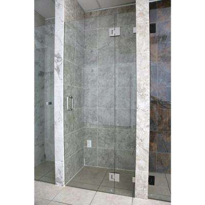 31.75 in. x 78 in. Frameless Glass Hinged Shower Door in Brushed Nickel