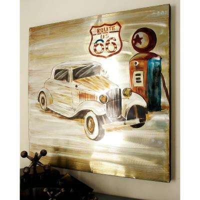 """40 in. x 40 in. """"Vintage Car and Gas Pump"""" Aluminum Canvas Wall Art"""