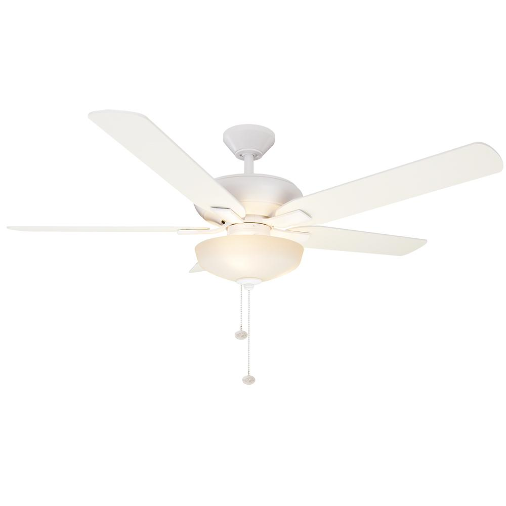 Holly Springs 52 in. LED Indoor Matte White Ceiling Fan with