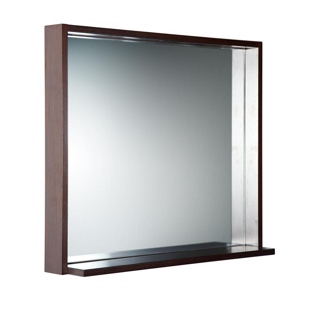 Allier 29.50 in. W x 25.50 in. H Framed Wall Mirror with Shelf in Wenge