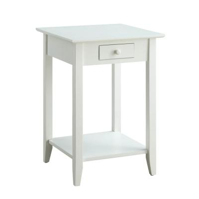 American Heritage White Drawer and Shelf End Table
