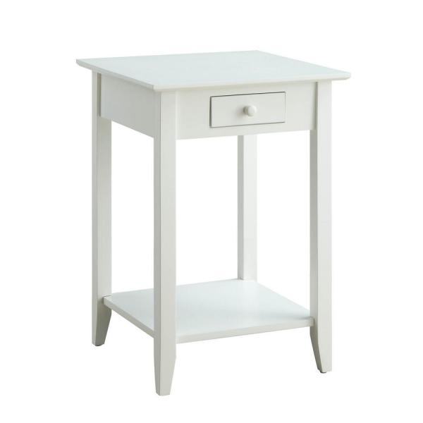 1c6feb8945 Convenience Concepts American Heritage White Drawer and Shelf End Table