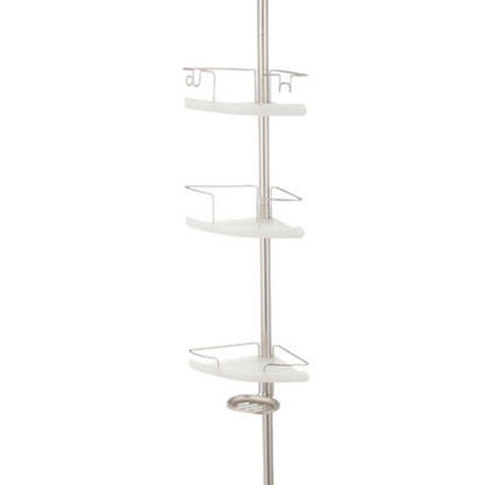 Home Zone 3 Tier Adjustable Corner Shelf Extension Pole Caddy, Satin ...
