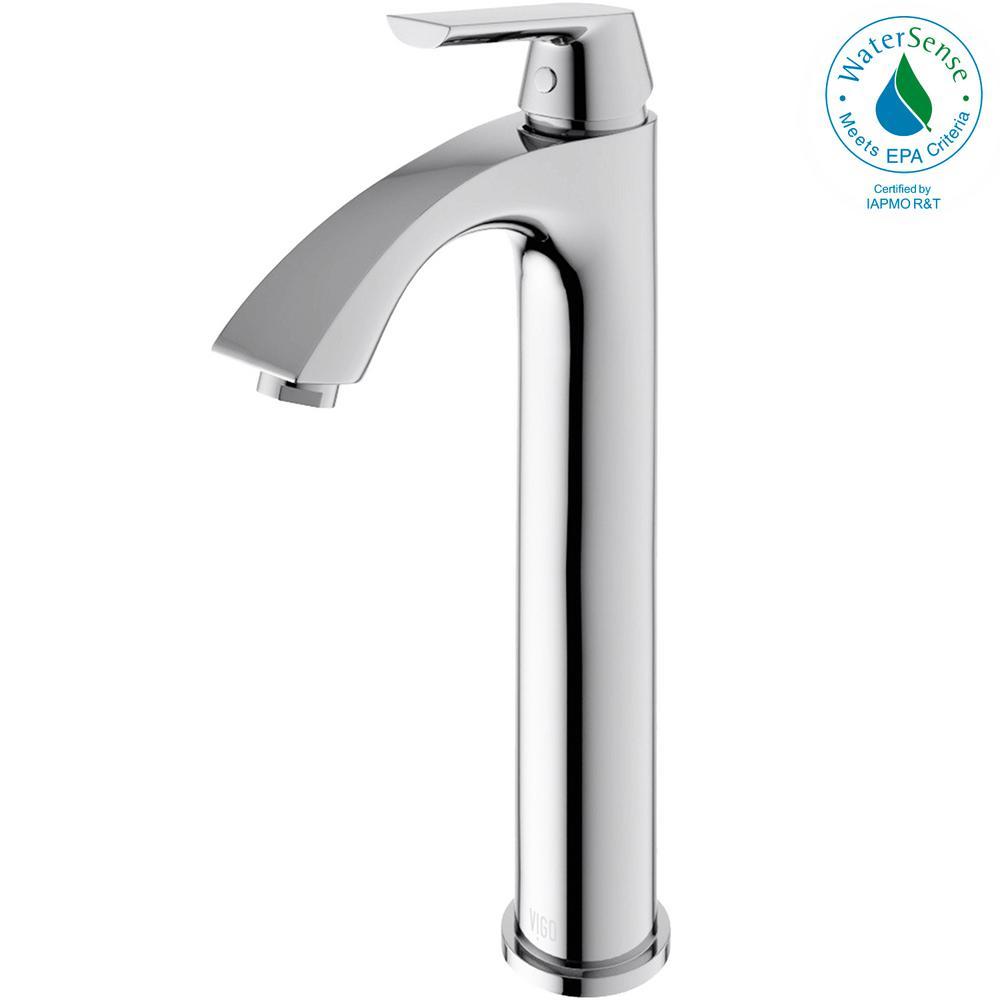VIGO Single Hole 1-Handle Low-Arc Bathroom Faucet in Chrome ...