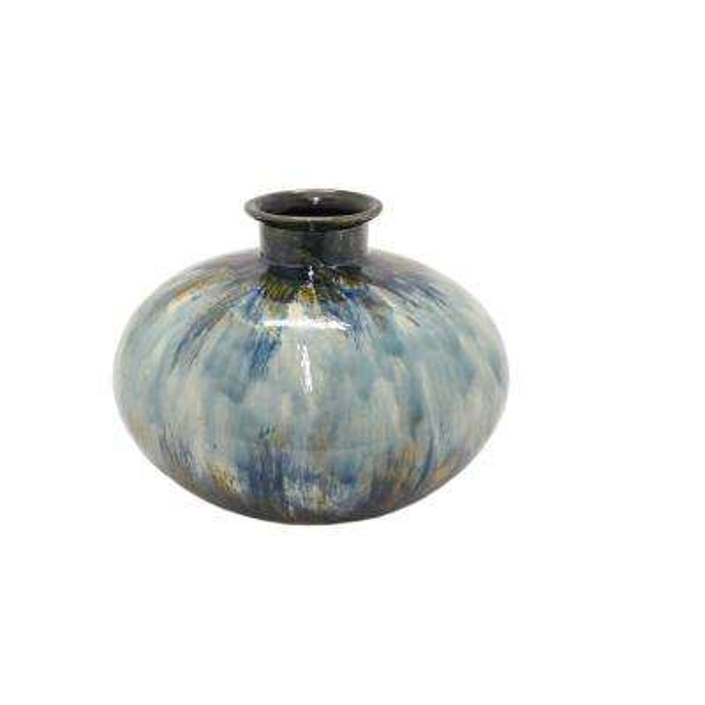 Multi-Colored Ceramic Decorative Vase with Glossy Finish