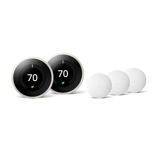 Nest Learning Thermostat 3rd Gen in White (2-Pack) and Google Nest Temperature Sensor (3-Pack)
