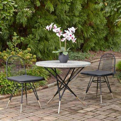 Du Jour Black 3-Piece Metal Round Outdoor/ Indoor Bistro Set with Gray Cushions with Gray Concrete Tile Top