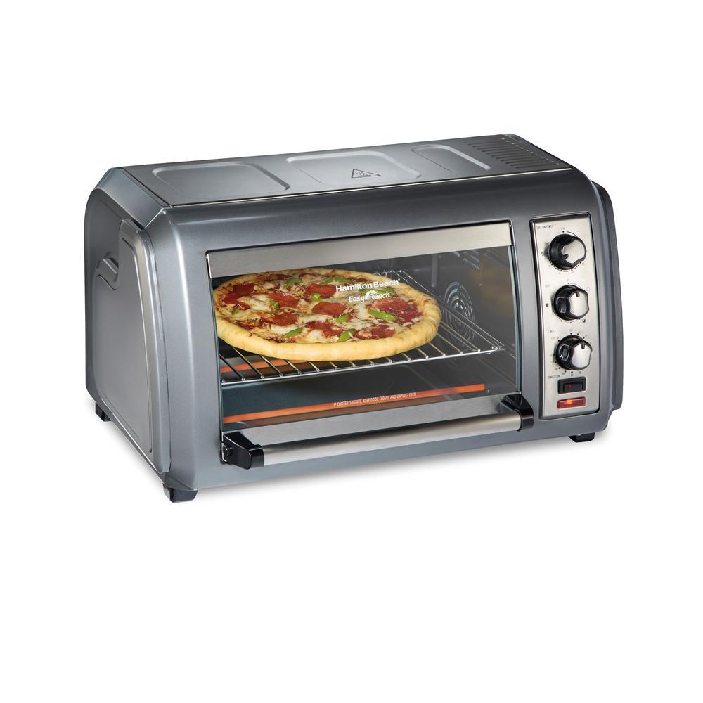Hamilton Beach Easy Reach 1500-Watts 6-Slice Grey Toaster Oven with Roll-Top Door, Silver -  31434