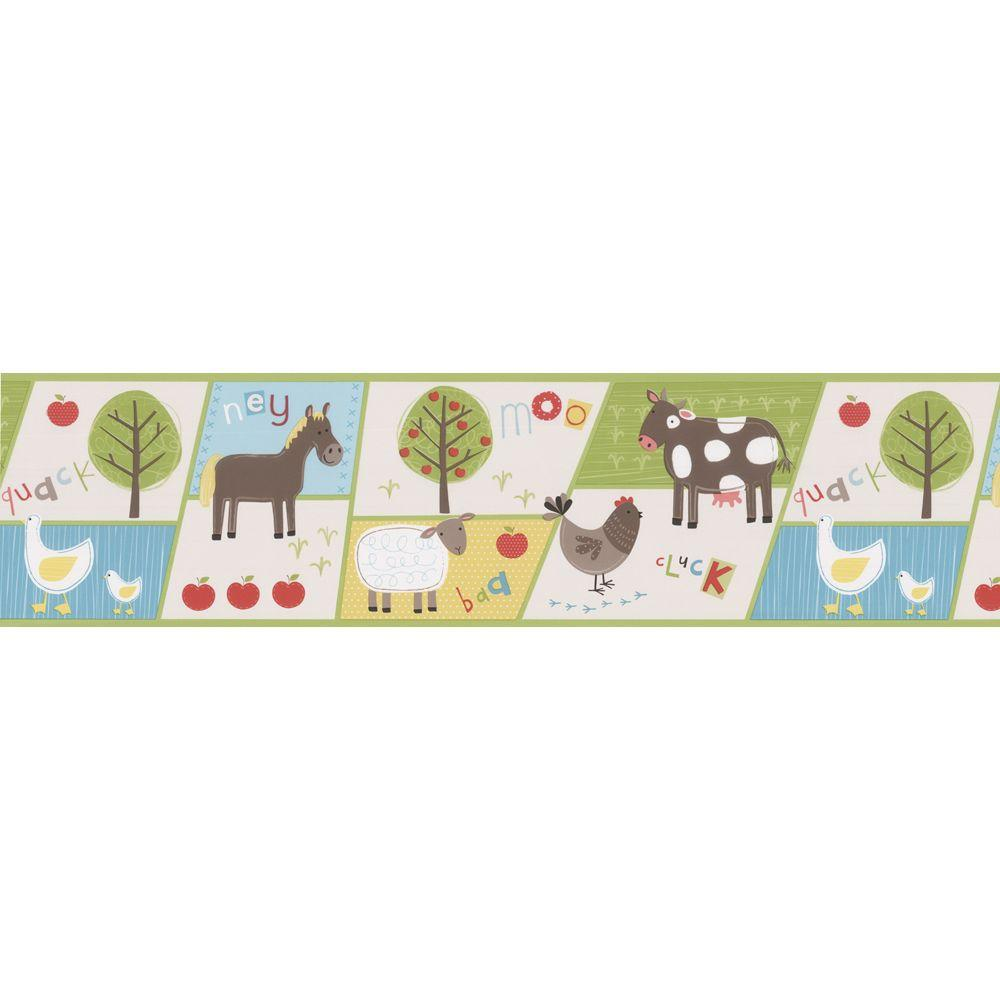 Brewster Kids World On The Farm Patchwork Wallpaper Border