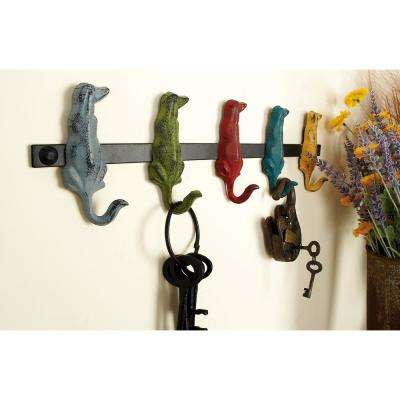 19 in. W x 5 in. H Iron Dogs with Curled Tails Wall Hook in Distressed Multicolor Paint