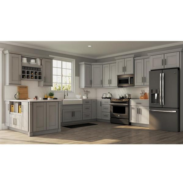 Hampton Bay Shaker Assembled 21x36x12 In Wall Kitchen Cabinet In Dove Gray Kw2136 Sdv The Home Depot