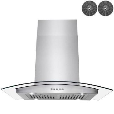 30 in. Convertible Kitchen Island Mount Range Hood in Stainless Steel with Push Control and Carbon Filters