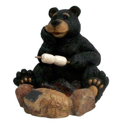 10.8 in. H Solar Powered LED Resin Bear Roasting Marshmallows