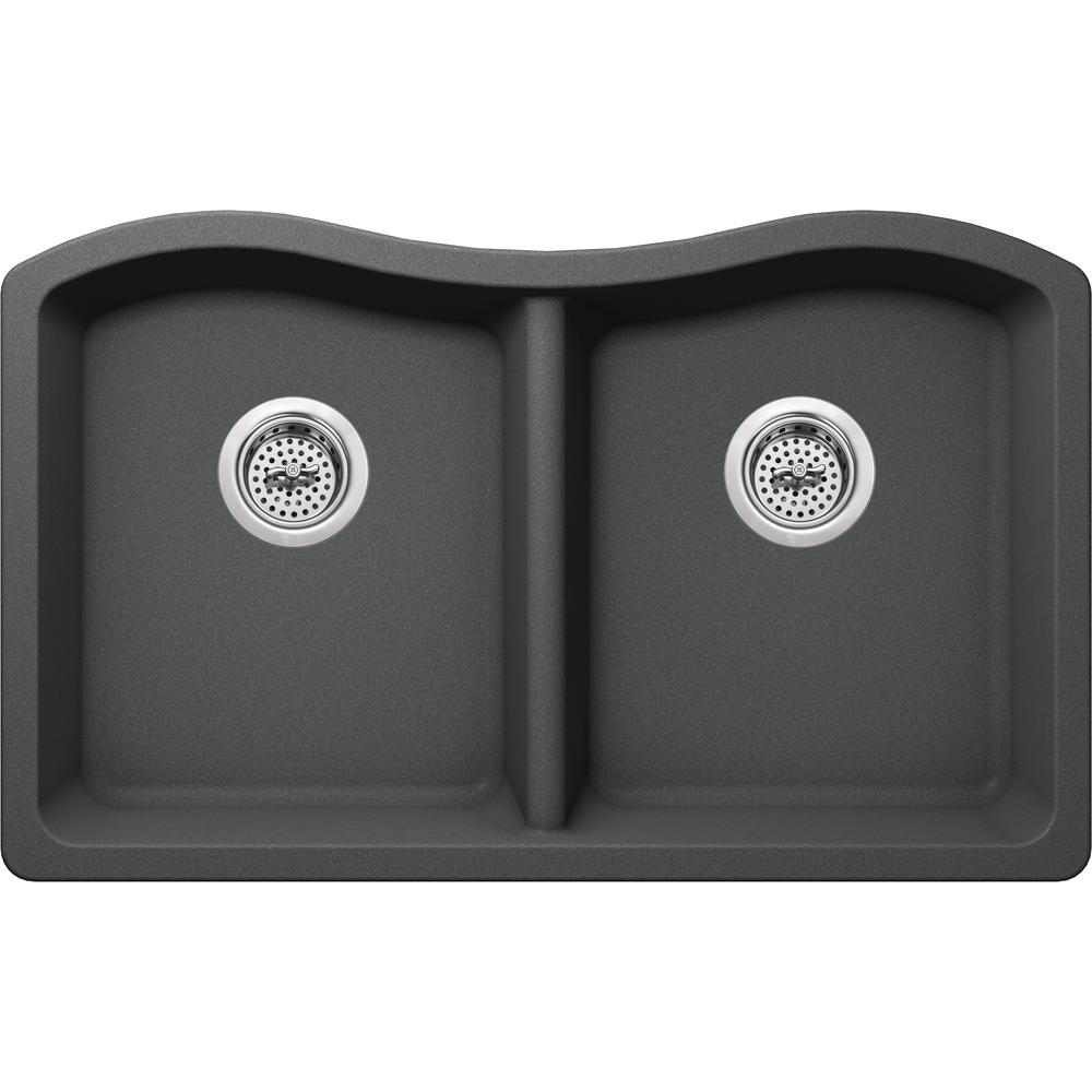 Ipt sink company undermount granite composite 33 in 50 50 for The kitchen sink company