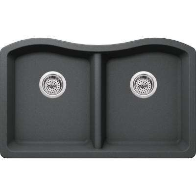 Undermount Granite Composite 33 in. 50/50 Double Bowl Kitchen Sink in Grey