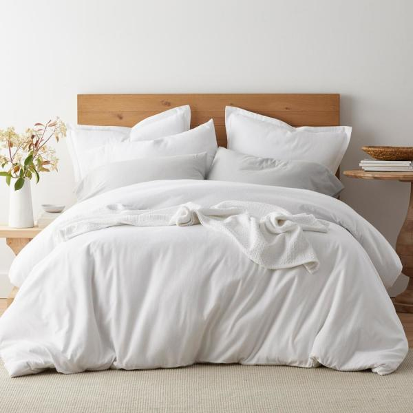 The Company Store 3 Piece Solid Organic Flannel Twin Xl Sheet Set In White 50457l Txl White The Home Depot