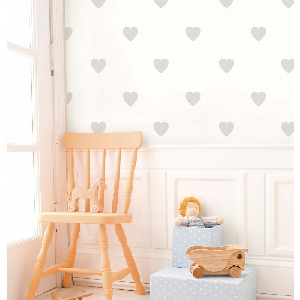Adley Off-White Hearts Wallpaper