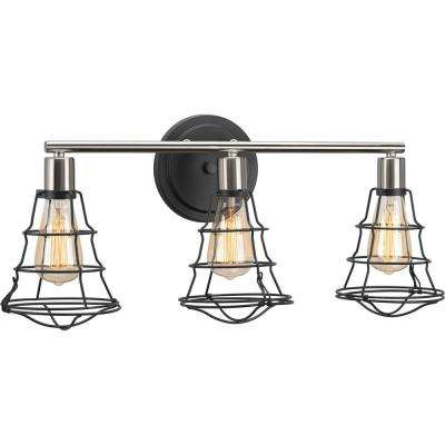 Gauge Collection 25.13 in. 3-Light Graphite Bathroom Vanity Light