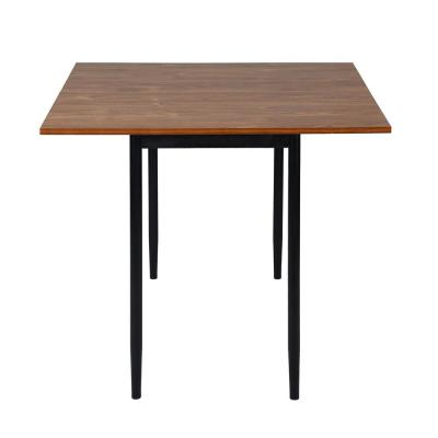 Brown Extendable Table Rectangular Drop leaf Dining Table with Metal Legs