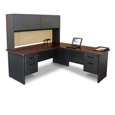 72 in. W x 78 in. D Dark Neutral and Beryl Desk with Return and Pedestal