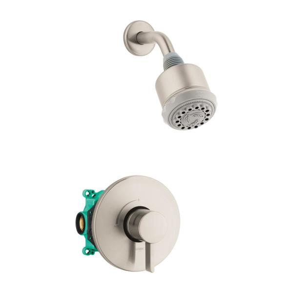 Clubmaster Single-Handle 3-Spray Shower Faucet with Shower Arm in Brushed Nickel (Valve Included)