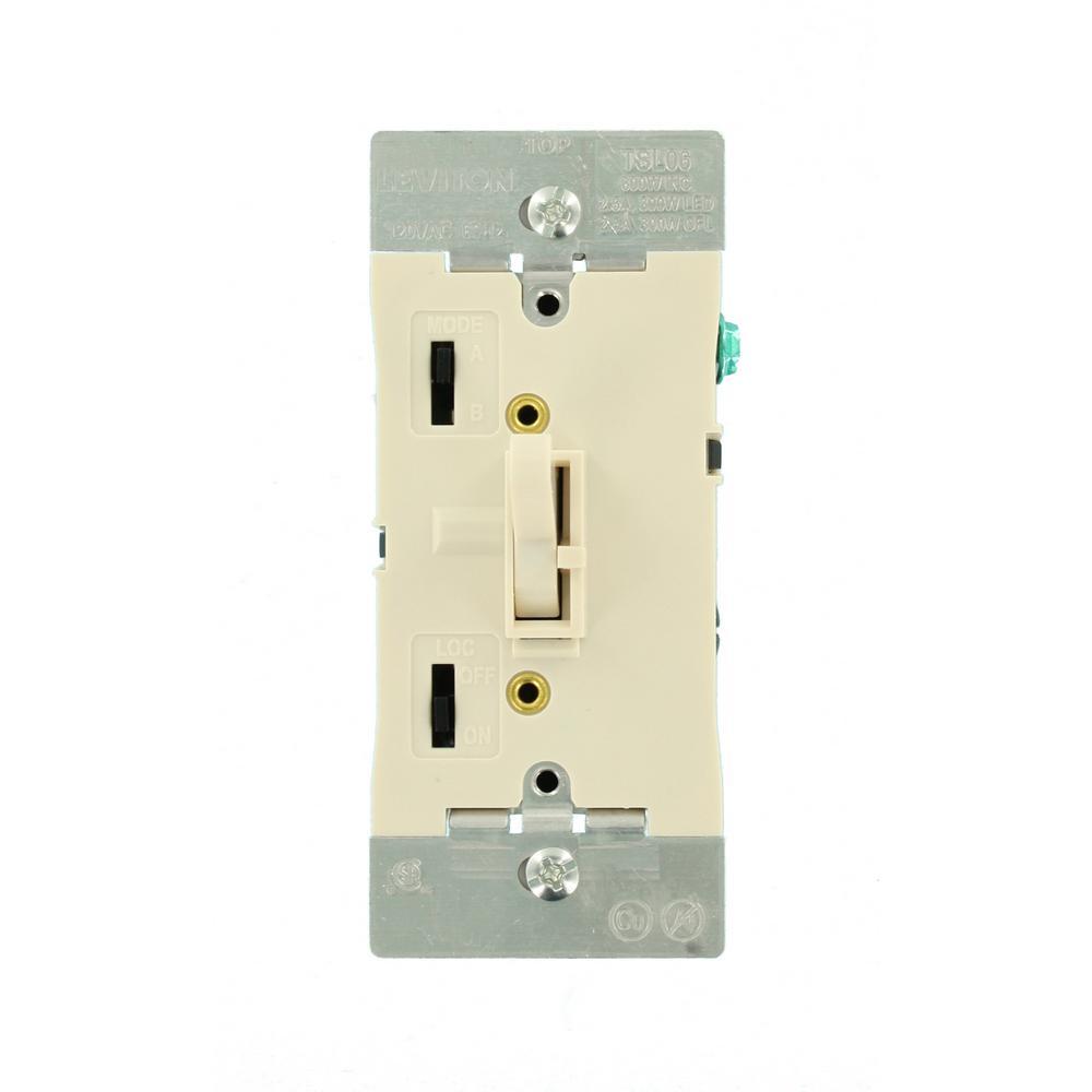300-Watt Dimmable LED/CFL 600-Watt Incandescent and Halogen Toggle Slide Universal Dimmer, Light Almond
