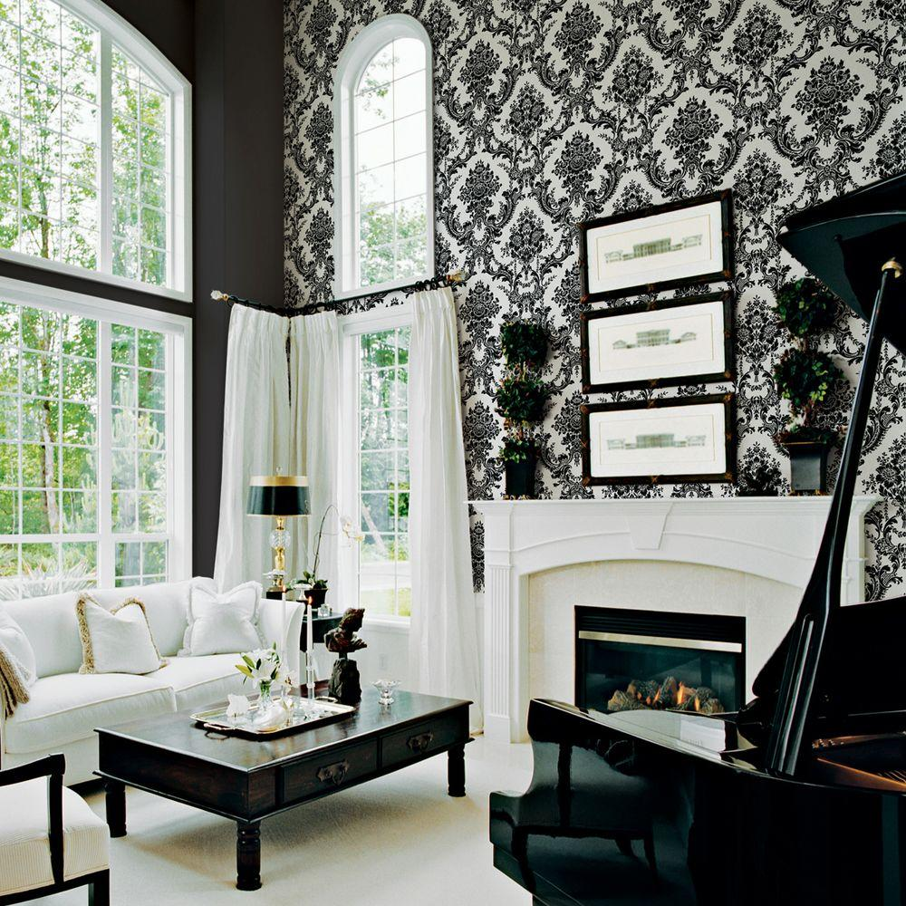 The Wallpaper Company 56 sq. ft. Black and White Mid Scale Damask Wallpaper