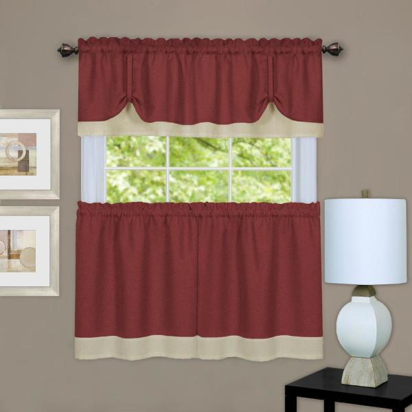Darcy Marsala/Tan Polyester Light Filtering Rod Pocket Tier and Valance Curtain Set 58 in. W x 24 in. L