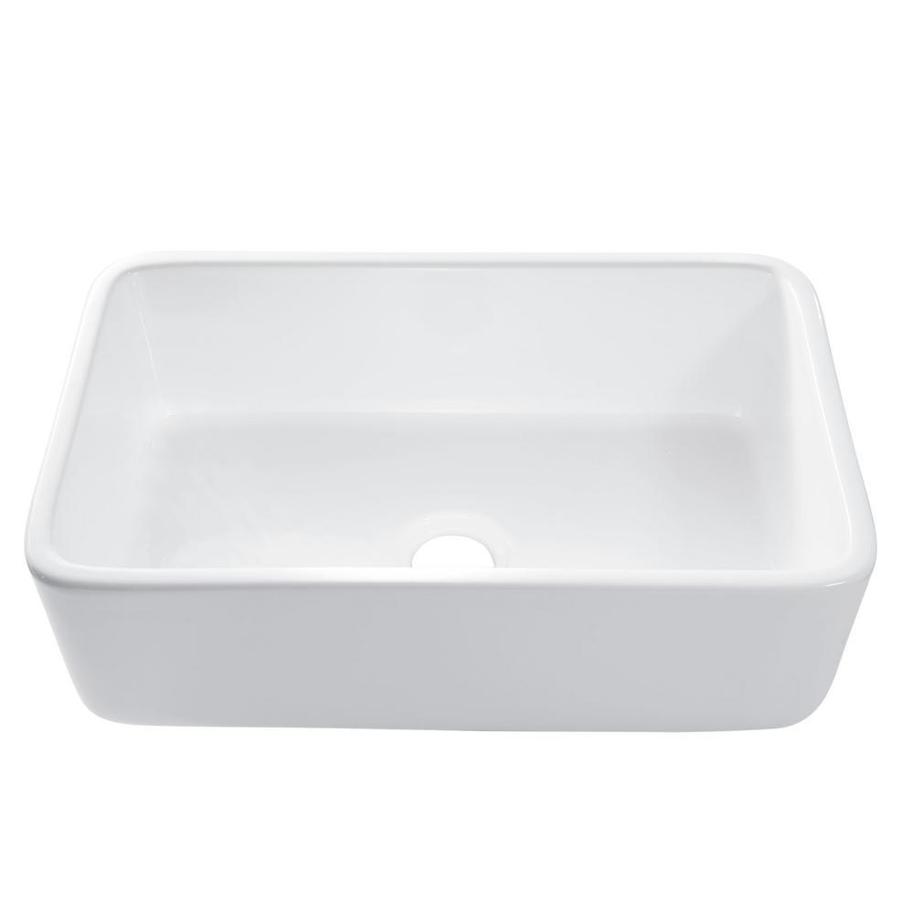 SINKOLOGY Bradstreet Reversible Farmhouse Apron Front Fireclay 30.5 in. Single Bowl Kitchen Sink in White